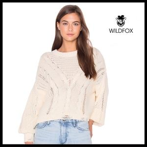 WILDFOX PULLOVER BOHO SLOUCHY IVORY SWEATER A3C